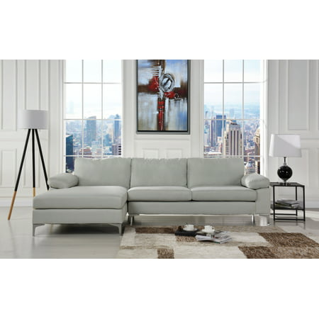 Modern Large Linen Fabric Sectional Sofa, L-Shape Couch with Extra Wide  Chaise Lounge (Beige)