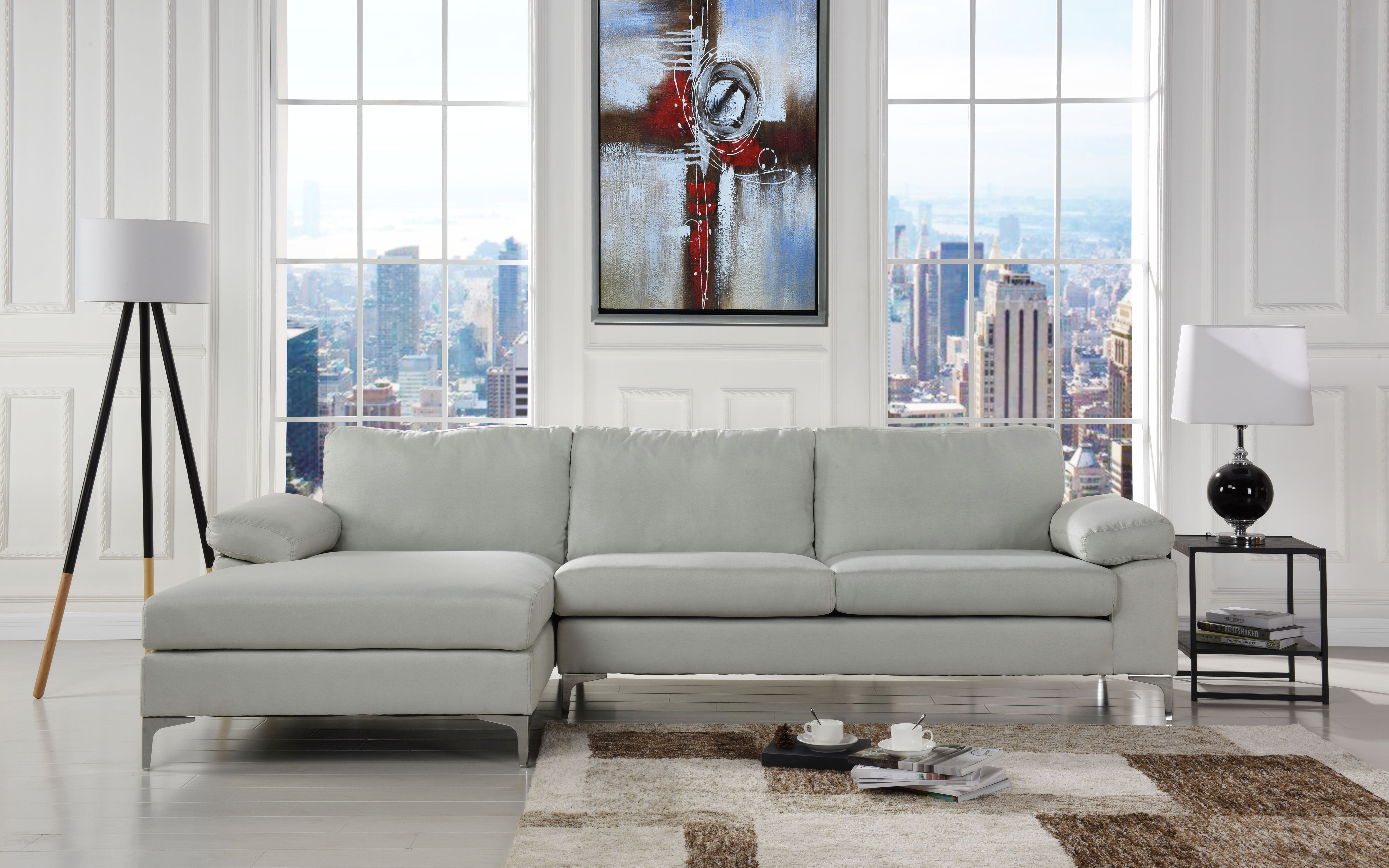 modern large linen fabric sectional sofa lshape couch with extra wide chaise lounge