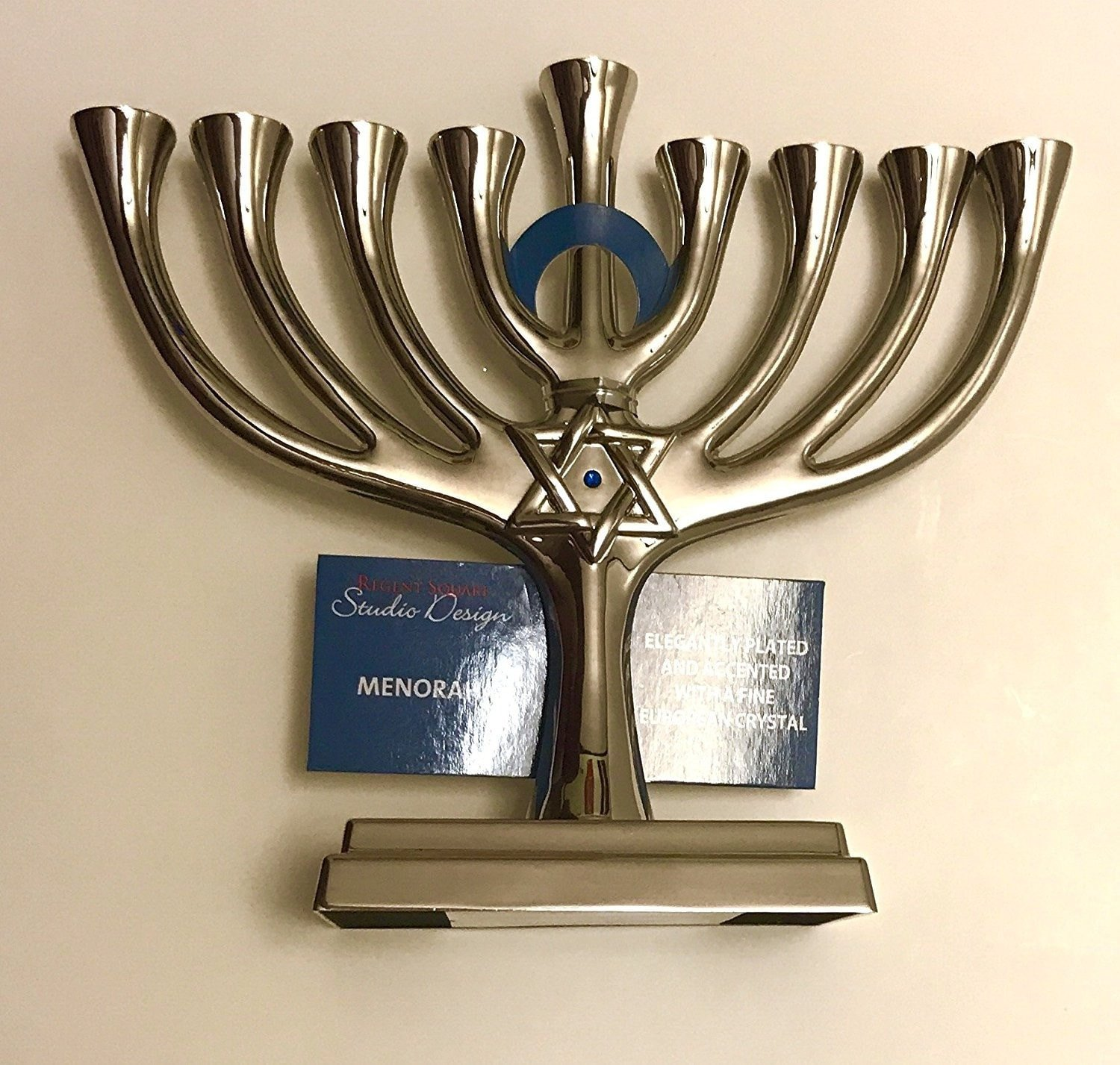 Regent Square Silver Menorah Plated with a fine European Crystal 6  x 5