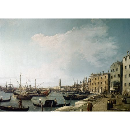 Canaletto Venice Nthe Bank Of The Schiavoni Looking West Canvas Rolled Canvas Art     24 X 36