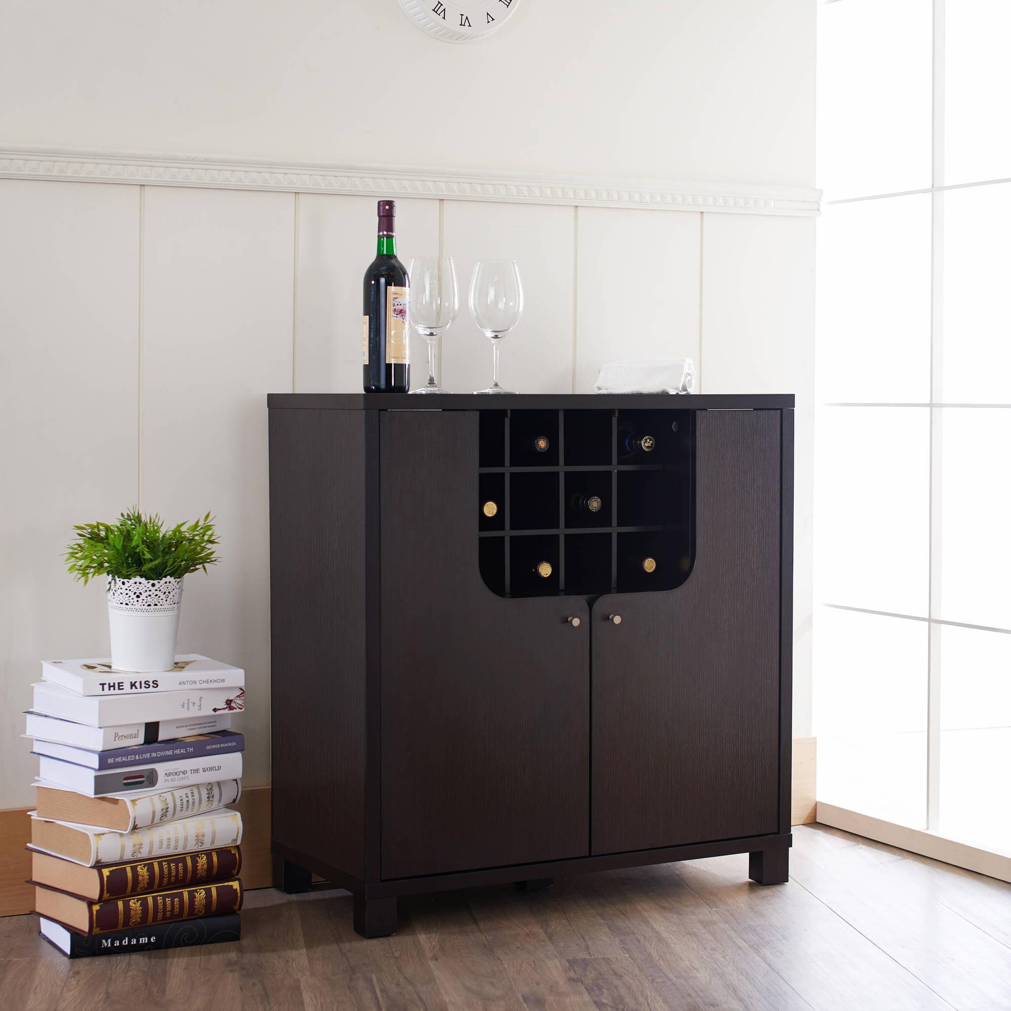 Furniture of America Greggors Modern Multi-Storage Wine Cabinet, Cappuccino by Furniture of America