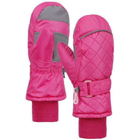 Cuffed Mittens - Kid's Water / Snow Resistant Long Cuff Snow Sports Winter Ski Mittens, Pink, XS