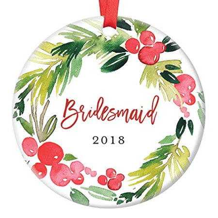 Bridesmaid Gifts, Christmas Ornament for Best Friend 2019, Will You Be My Bridesmaid? Proposal Wedding Party Favor Ceramic Present Idea 3