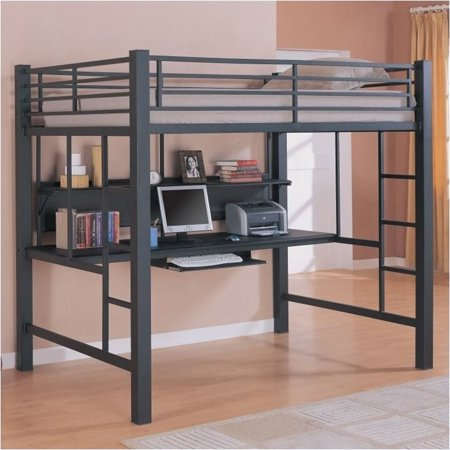 Bowery Hill Full Size Metal Loft Bed with Computer Workstation in Black (Full Size Metal Loft Bed)