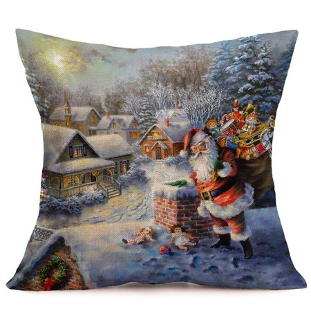 Hot Sale Merry Christmas Home Shops Sofa Bed Car Seat Linen Square Pillow Case Santa Claus Decorative Cushion Cover Xmas Home Festival (Chicago Bears Santa Pillow)