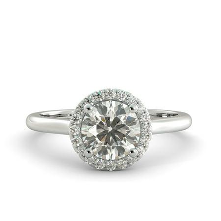 1.38 ct Round Brilliant Moissanite & Natural Diamond Engagement Ring 14kWhite