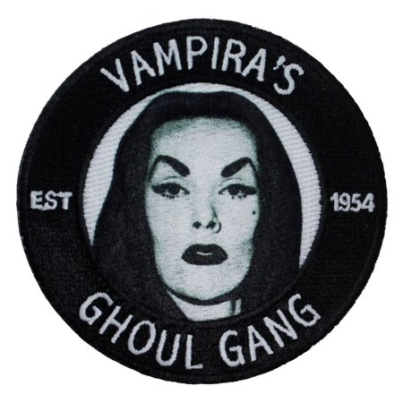 Cult Classic Vampira's Ghoul Gang Show Fan Club Badge Iron-On Applique - Scout Show Patch