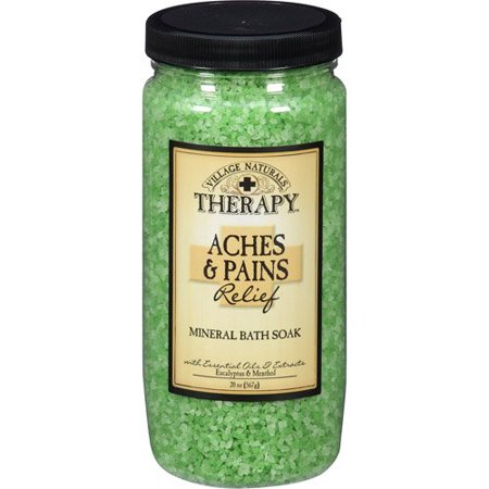 Village Naturals Therapy Aches & Pains Muscle Relief Mineral Bath Soak, Eucalyptus & Spearmint, 20 Oz