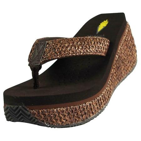 Volatile Womens Island Wedge Sandal BROWN / 9 B(M) US