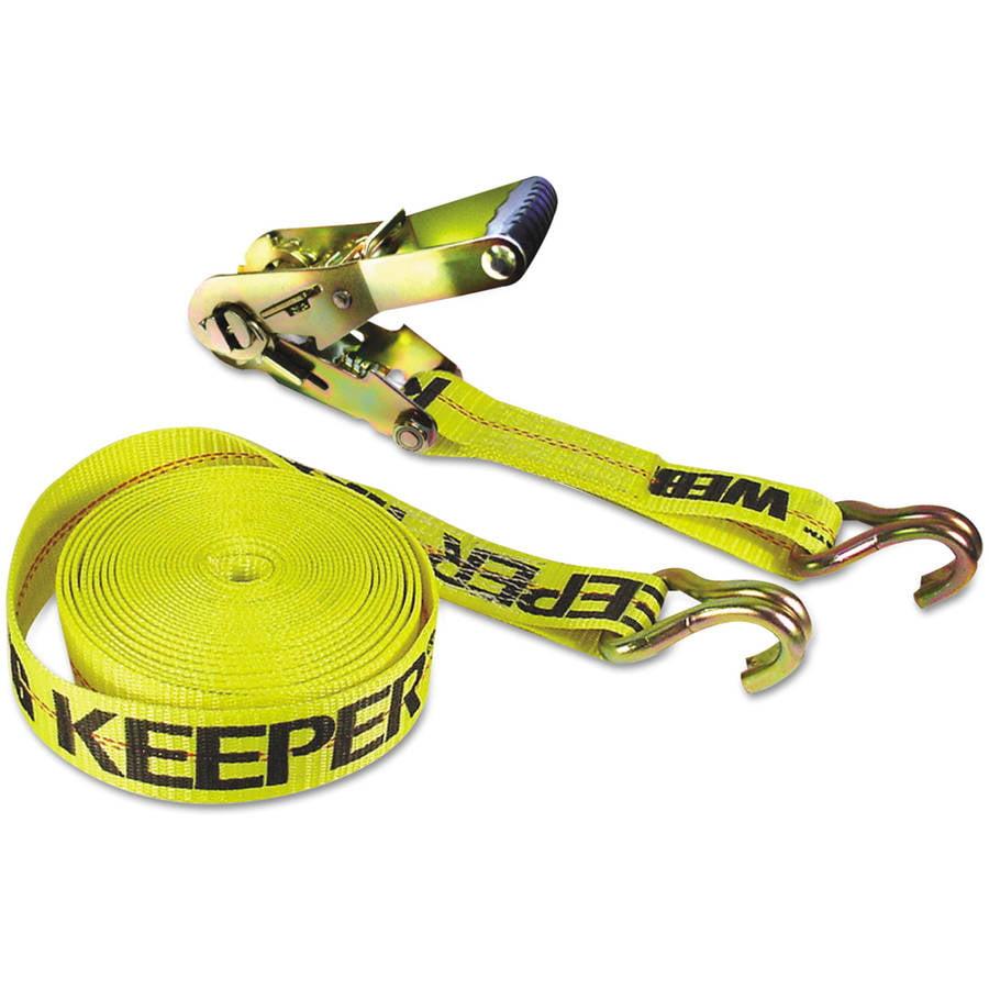 "Keeper Ratchet Tie-Down Strap, 2"" x 27ft, 10000lb Cap, Double-J Hook Ends"