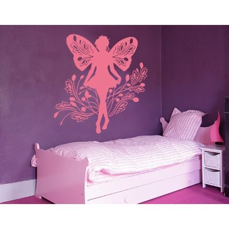 Fairy Curtsying Wall Decal - nursery wall decal, sticker, mural vinyl art home decor - 3932 - White, 16in x 16in