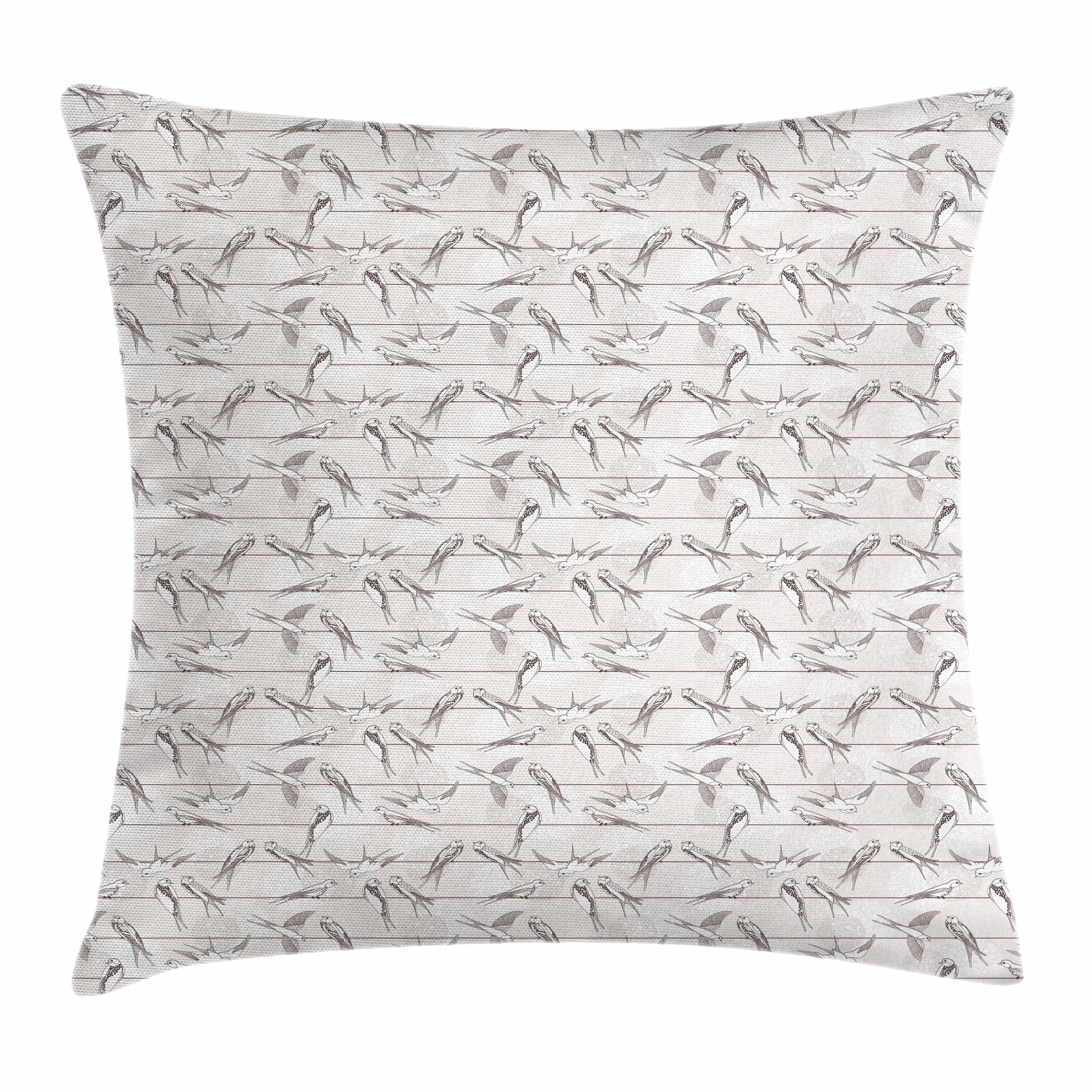 Birds Throw Pillow Cushion Cover, Spotted Neck Swallow and Red-Rumped Swallow Perching on Parallel Wires, Decorative Square Accent Pillow Case, 18 X 18 Inches, Pale Grey and Dimgrey, by Ambesonne