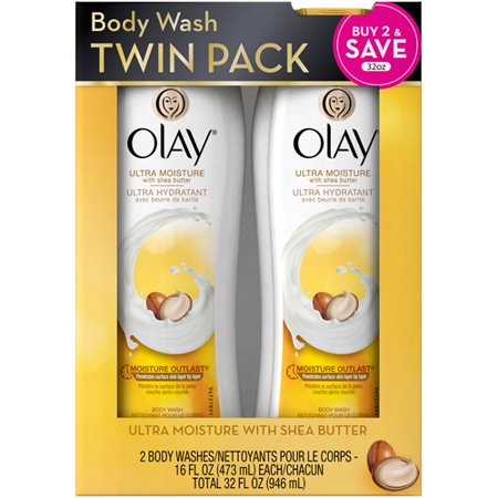 Olay Ultra Moisture Body Wash with Shea Butter, 16 oz, (Pack of 2)