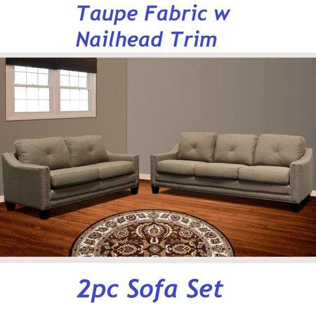Taupe Fabric 2pc Sofa Set W Nailhead Trim And Love Seat Burlap Simple Modern