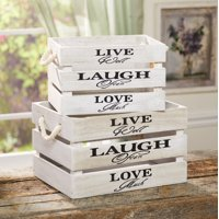 "Sentimental Storage Crates ""Live, Laugh, Love"" with Handles - Set of 2"