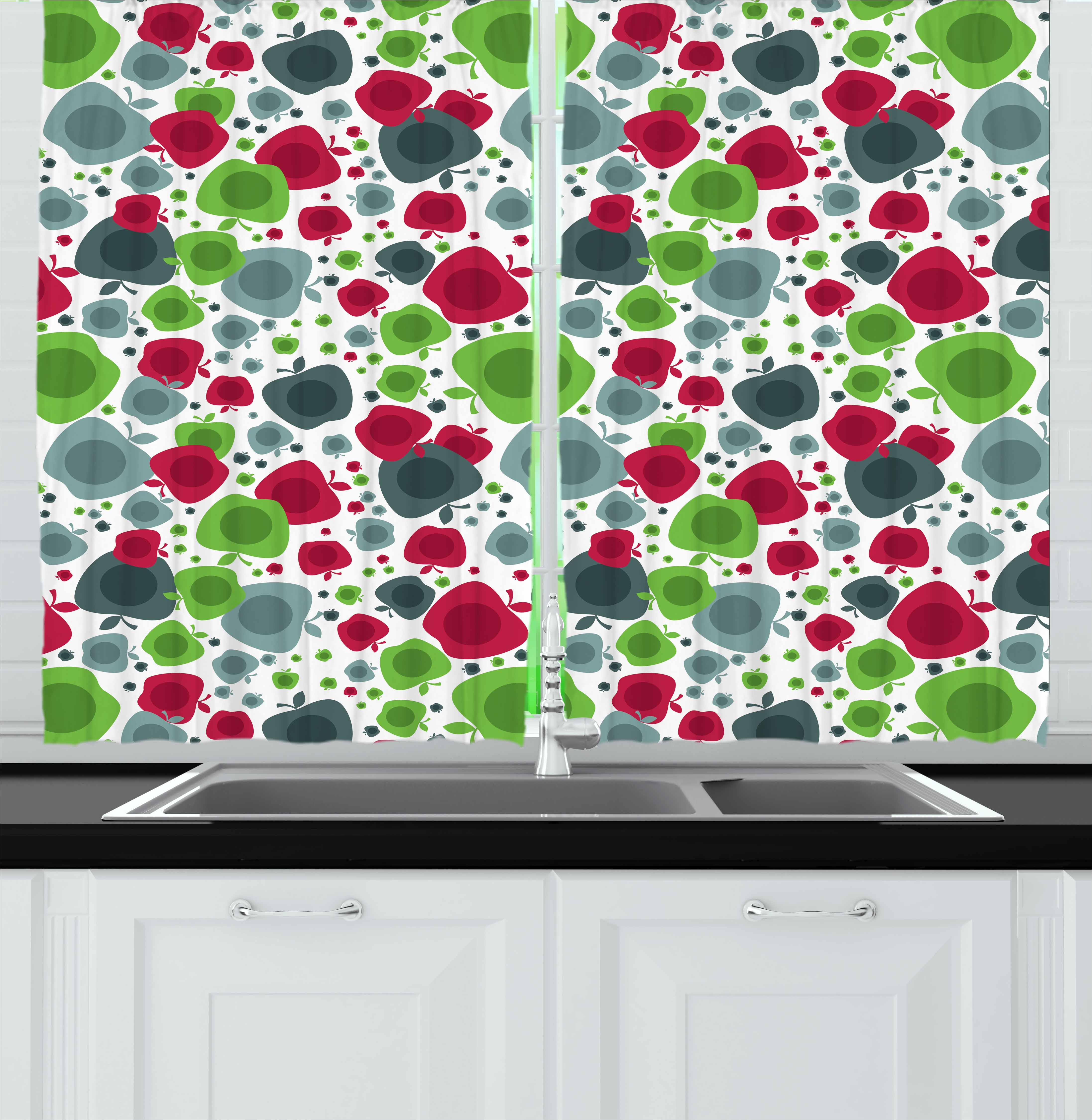 Apple Curtains 2 Panels Set Abstract Colorful Natural Apples In