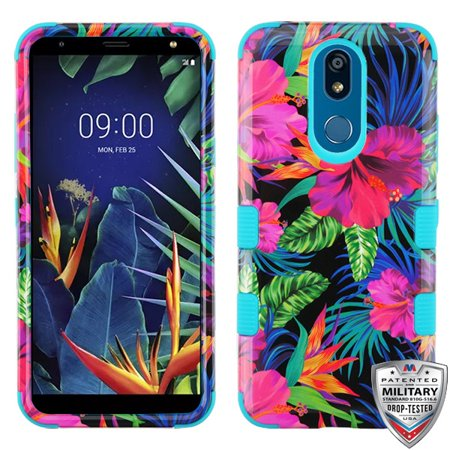 LG K40 Phone Case 3 in 1 Hybrid Impact Armor Hard PC & Soft TPU Silicone Rubber Heavy Duty Rugged Bumper Shockproof Anti Slip Full Body Protective Case Colorful Hibiscus Flower Cover for LG K40