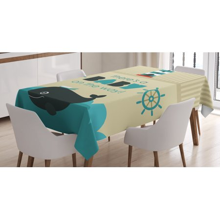 Ahoy Its a Boy Tablecloth, Baby on the Way Message with Marine Theme Set Up Dolphin Wheel, Rectangular Table Cover for Dining Room Kitchen, 60 X 84 Inches, Teal Dark Blue Khaki, by Ambesonne - Candy Table Setup