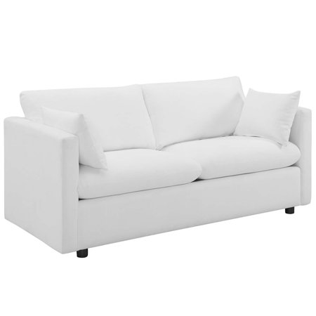 Modern Contemporary Urban Design Living Room Lounge Club Lobby Sofa,  Fabric, White