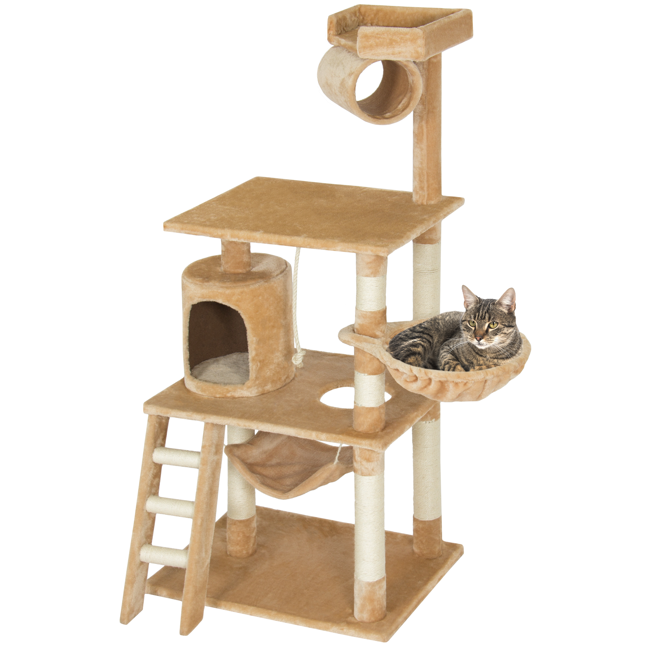 "Best Choice Products Pet Play House 60"" Cat Tree Scratcher Condo Furniture - Beige"