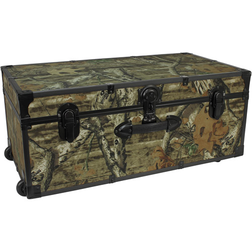 Seward Trunk Mossy Oak Footlocker Trunk with Wheels 25 Gal. Wood Storage Box with Handle, Mossy Oak