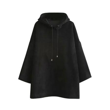 OUMY Women Hooded Warm Velvet Jumper Sweatshirt Outwear Cloaks (Black Hooded Cloak With Sleeves)
