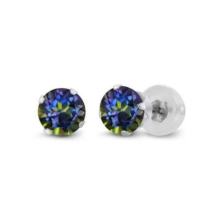 1.20 Ct Round Blue Mystic Topaz 14K White Gold 4-prong Stud Earrings - 14k Mystic Topaz Earrings