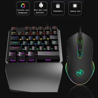 Keyboard Mice Set, EEEkit Wired Ergonomic Gaming LED Rainbow Color Backlight Keyboard Waterproof Dustproof and 3D Roller with Anti-skid Wired Mouse