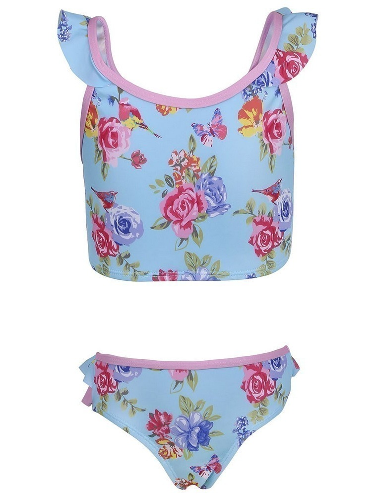Sun Emporium Girls Blue Pink Blossom Print Crop Top 2 Pc Bikini Set