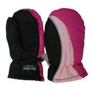 Aquarius Toddler Girls Black & Pink Snow & Ski Mittens Thinsulate Lining
