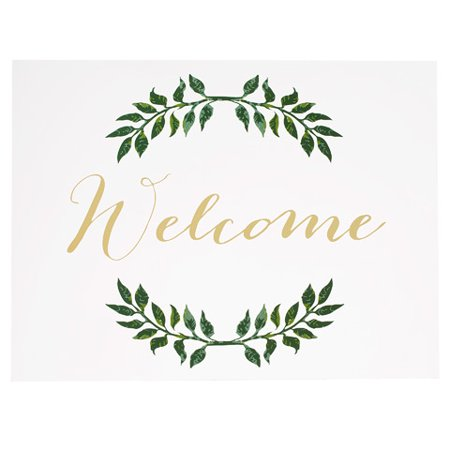 David Tutera Clear Wedding Welcome Sign w/Laurel Branch Design (Wedding Welcome Signs)