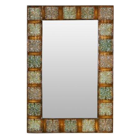 Embossed Metal Frame Wall Mirror Multi-Colored 36