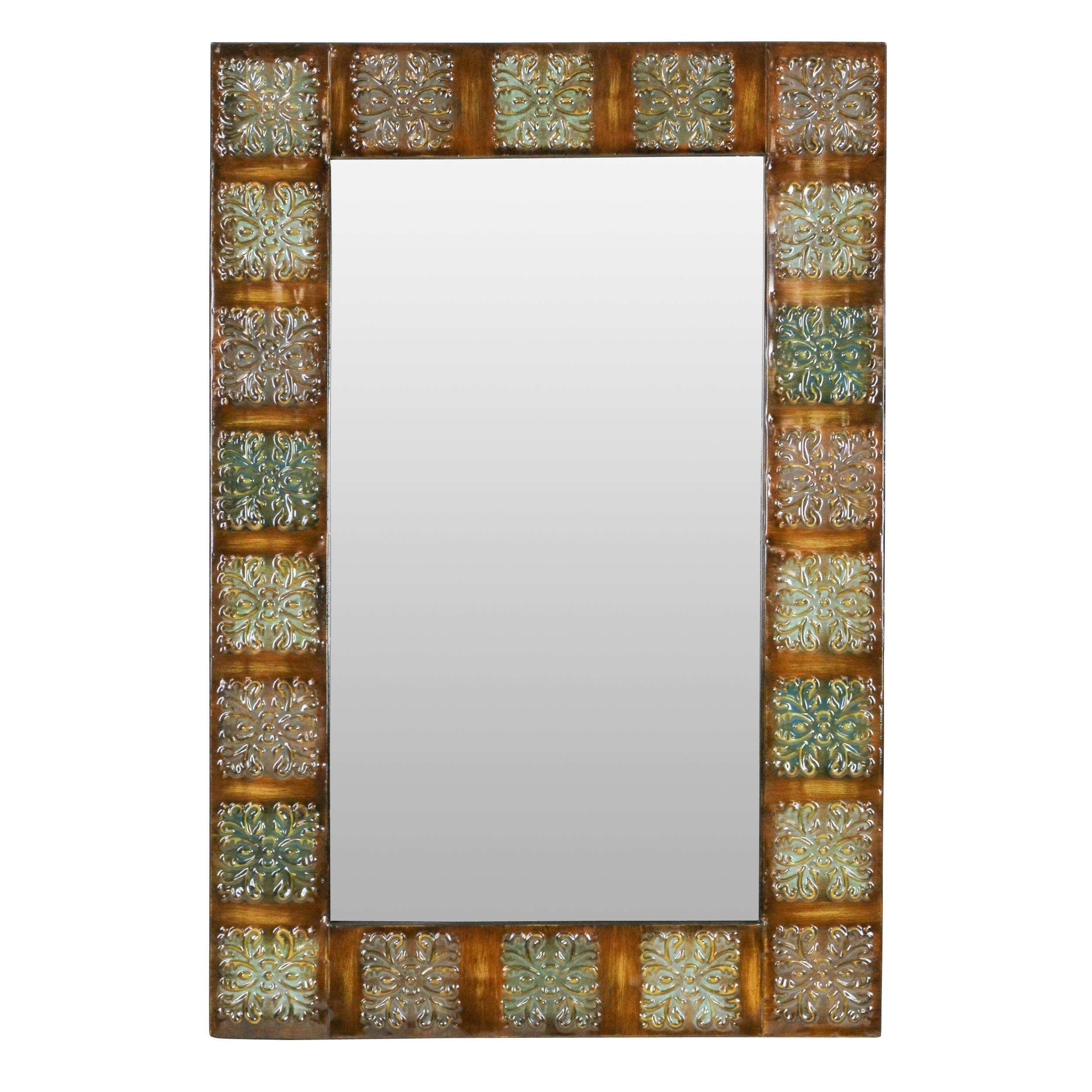 """36"""" Embossed Metal Frame Wall Mirror"""