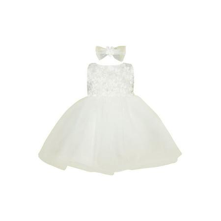 Baby Girls Ivory 3D Flower Tulle Back Tie Flower Girl Dress