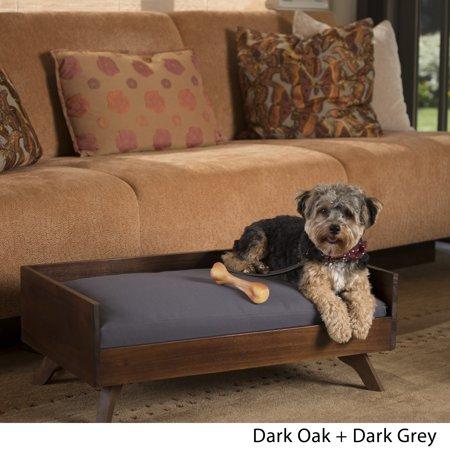 Noble House Tenaya Mid Century Acacia Wood Dog Bed with Water Resistant Cushion, Dark Oak, Dark Grey