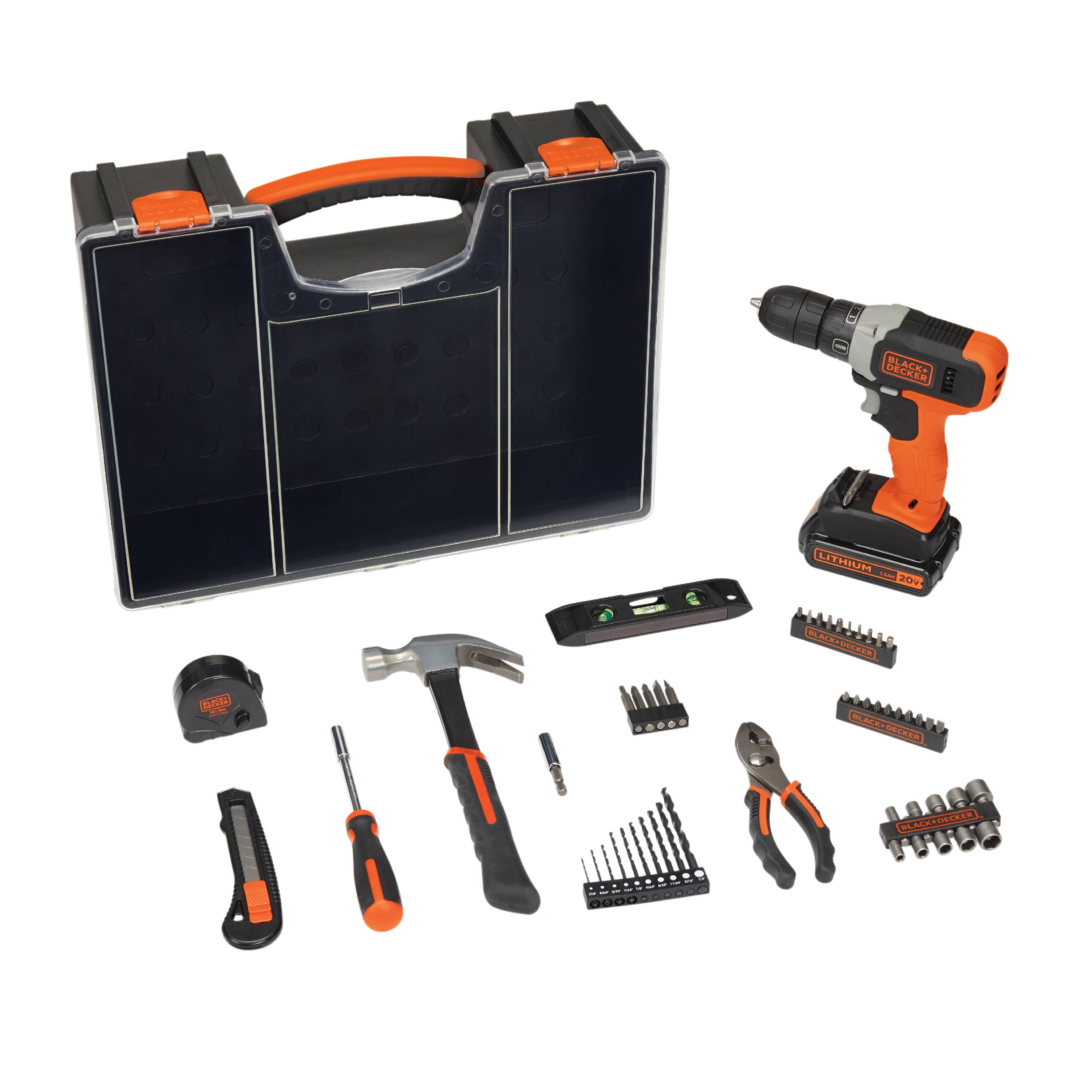 BLACK+DECKER 20-Volt MAX Drill Project Kit with 53-Pieces and Hard Case, BCD70253PKWM