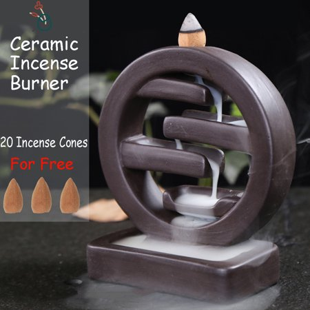 Round Porcelain Backflow Ceramic Cone Incense Burner Holder Buddhist + 20 Cones