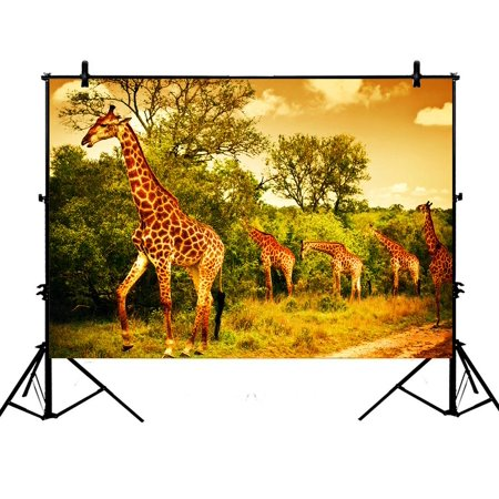 PHFZK 7x5ft Wildlife African Safari Backdrops, Giraffe and Animals Art Wild Jungle Desert Themed Orange Brown Green Photography Backdrops Polyester Photo Background Studio Props](Jungle Safari Backdrop)