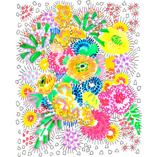 Oopsy Daisy - Floral Burst Canvas Wall Art 14x18, Jo Chambers of Studio Legohead
