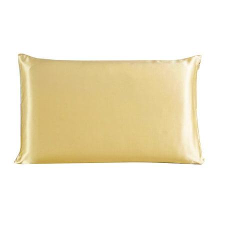 Piccocasa 100% Mulberry Silk Fabric Pillow Case Cover Pillowcase Champagne Standard