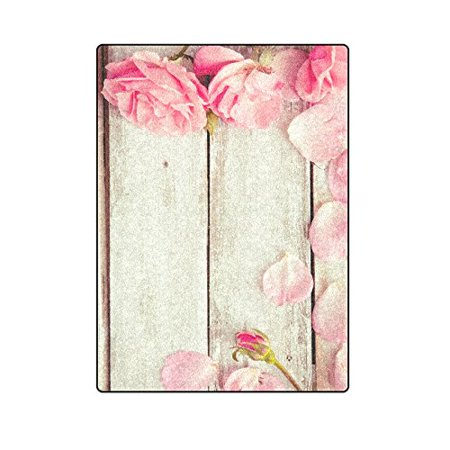 CADecor Romantic Floral Valentines Day Roses on Wooden Throw Blanket Bed Sofa Blanket 58x80 inches - Buy Wooden Roses