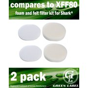 2 Pack Foam and Felt Filter Kit for Shark Navigator Professional Vacuum Cleaners (compares to XFF80). Fits: NV70, NV80, NV90, UV420. Genuine Green Label Product.