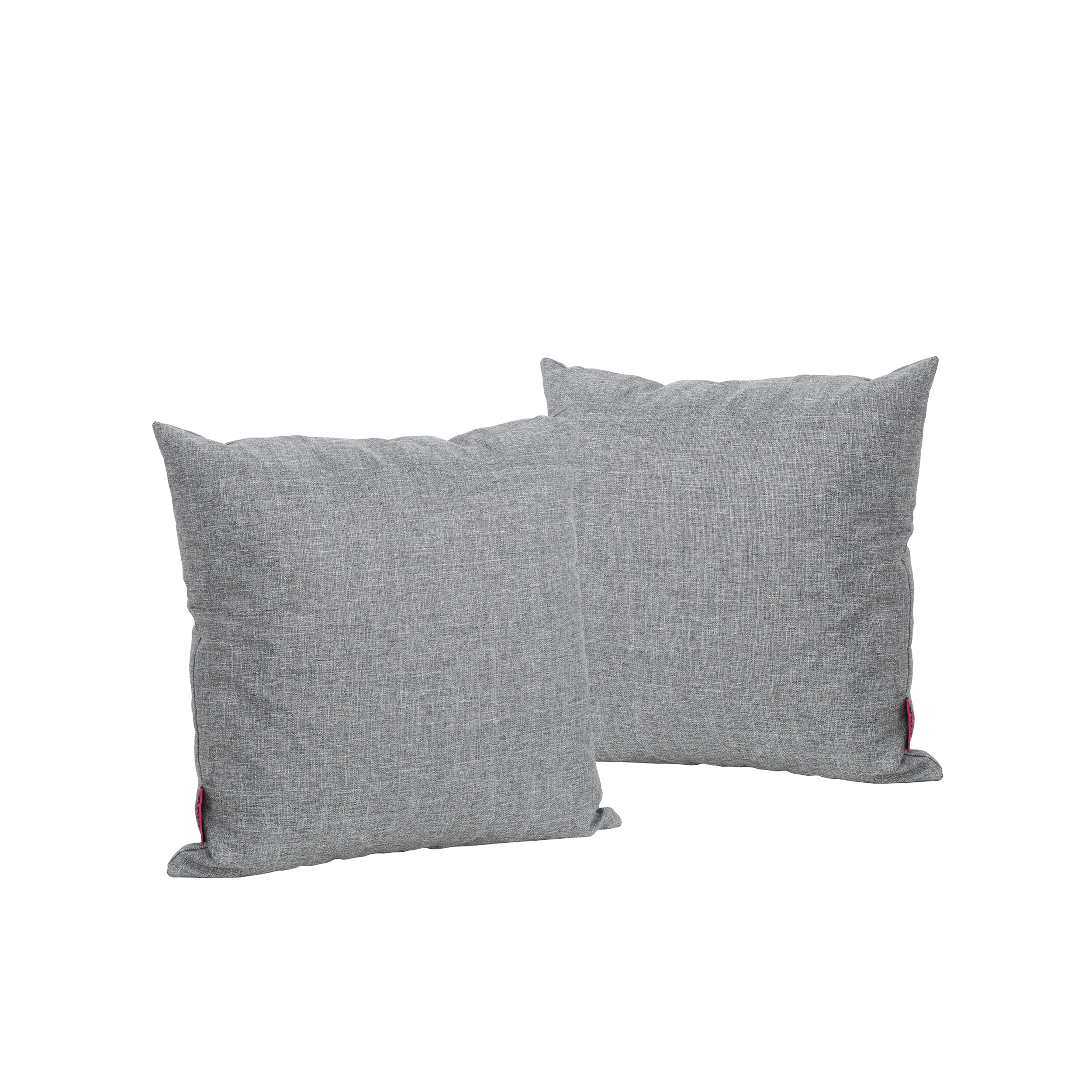 Kaffe Indoor Water Resistant Square Throw Pillows, Set of 2, Grey by GDF Studio