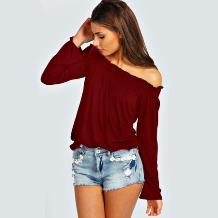 8b2eac5b67aa9 ZANZEA Women Tops and Blouses Solid Off Shoulder Shirts Ladies Loose Casual