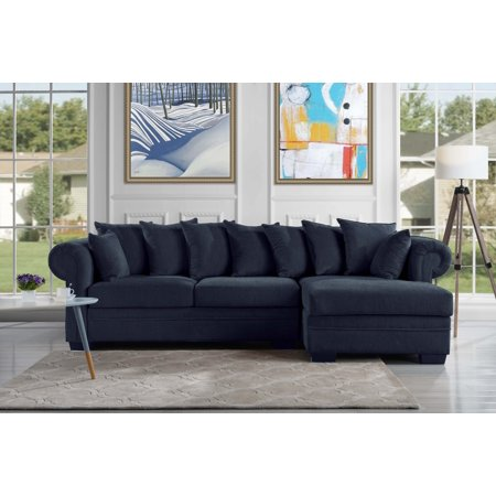 Modern Fabric L Shape Sectional Sofa Couch Navy