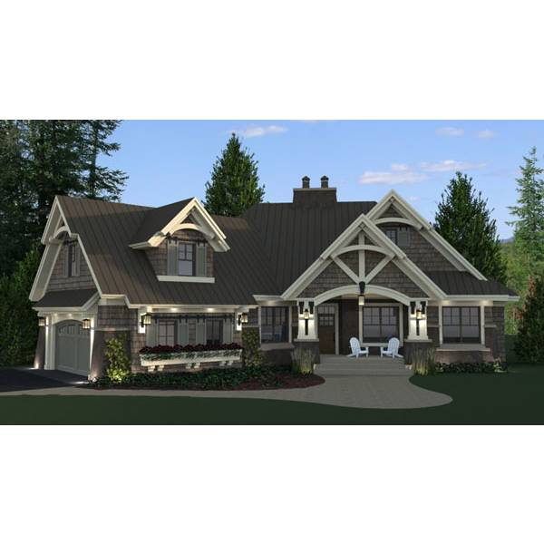 TheHouseDesigners-9720 Craftsman House Plan with Crawl Space Foundation (5 Printed Sets)