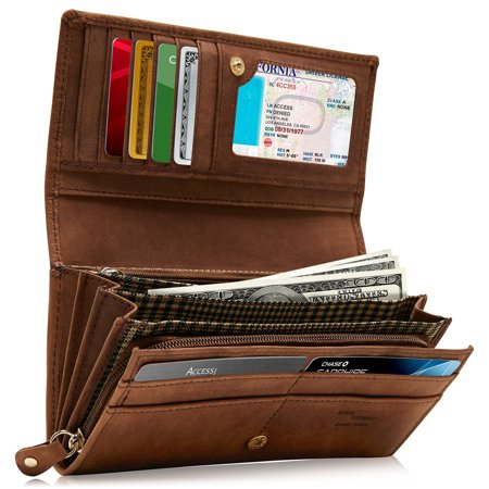 (Genuine Leather Wallets For Women - Embossed Floral Ladies Accordion Clutch RFID Wallet With ID Window)