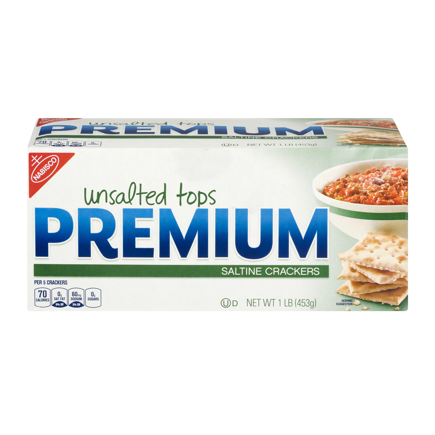 Premium Saltine Crackers Unsalted Tops, 1.0 LB