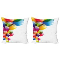 Birthday Throw Pillow Cushion Cover Pack of 2, Celebration Colorful Balloons with Reflections Surprise Occasion Joyful, Zippered Double-Side Digital Print, 4 Sizes, Multicolor, by Ambesonne