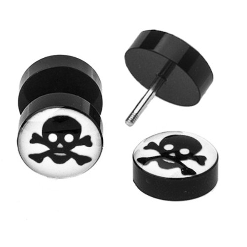 BodyJ4You Fake Plugs Glow in the Dark Skull Earrings 16G Studs Cheater Gauge Cheater Jewelry